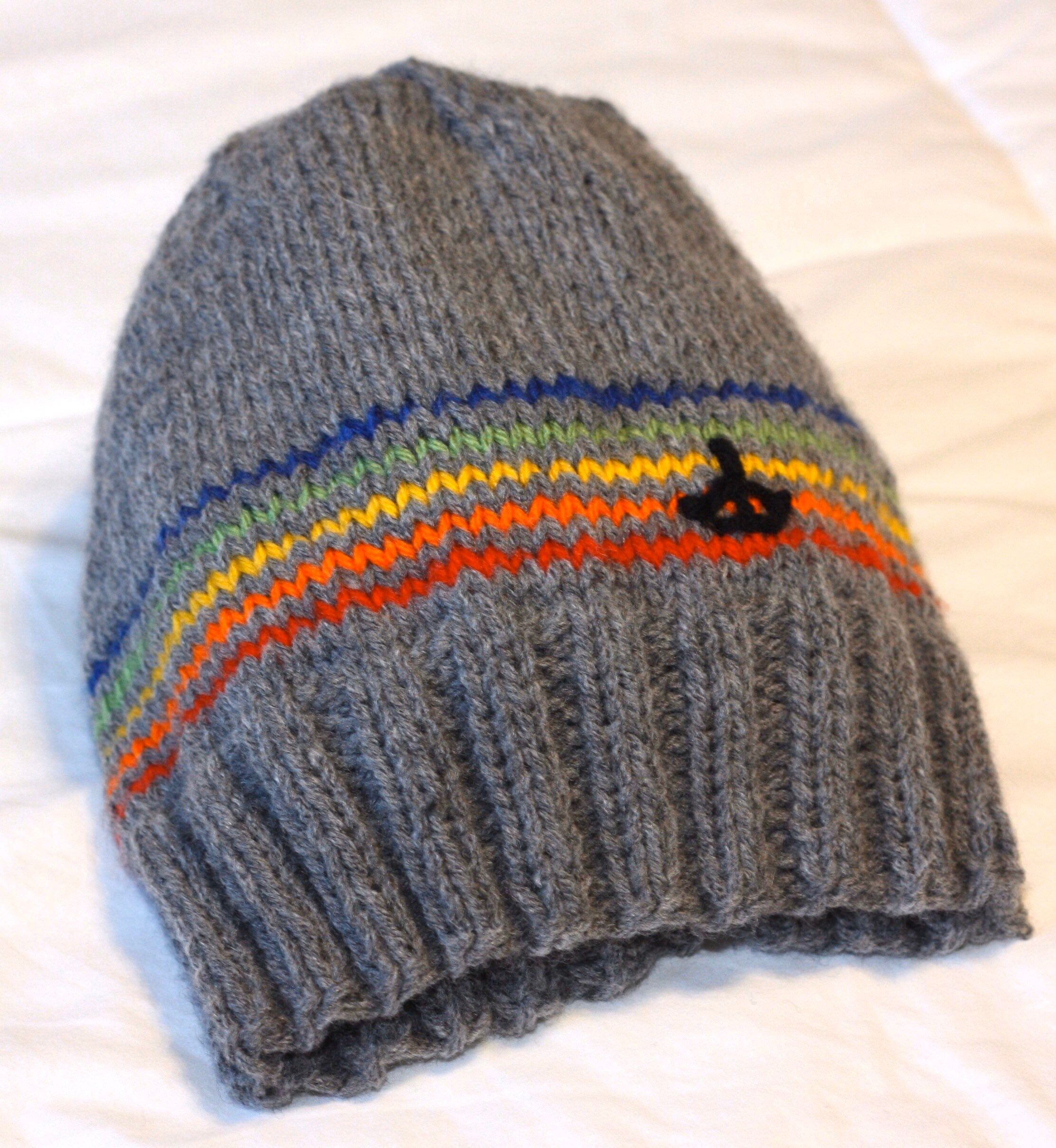 Grey & Rainbow Toque Pattern | Knitted hats, Knitting, Pattern