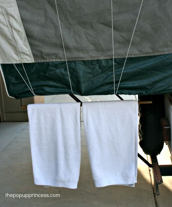 Pop Up Camper Mods: Bunkend Towel Rack | Camper Update Ideas