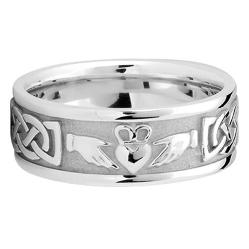 Men S Celtic Claddagh Wedding Ring 8 Mm 14k White Gold