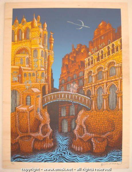 2009 Marsians - Silkscreen Art Print on Wood Panel by Emek