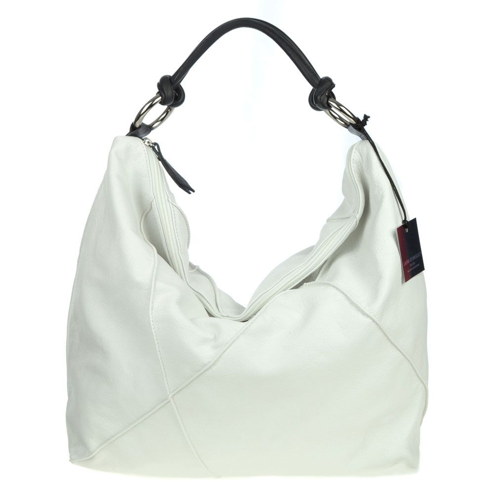 Laura Di Maggio Italian Made White Leather Large Shoulder Hobo Bag ...