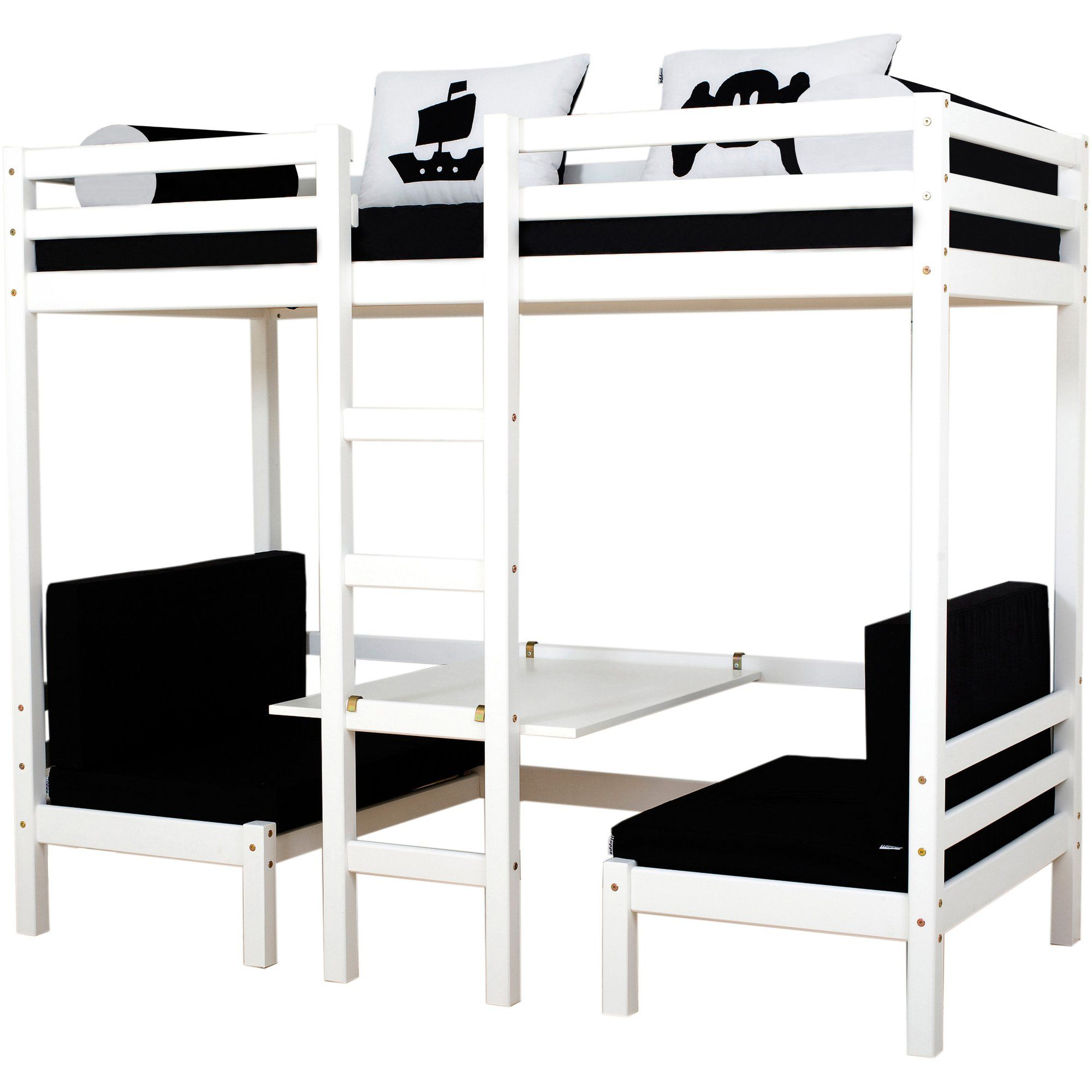 Lit Mezzanine Table Et Banquettes Sommier Et Matelas Hoppekids 3suisses Rollrost Hochbett Bett