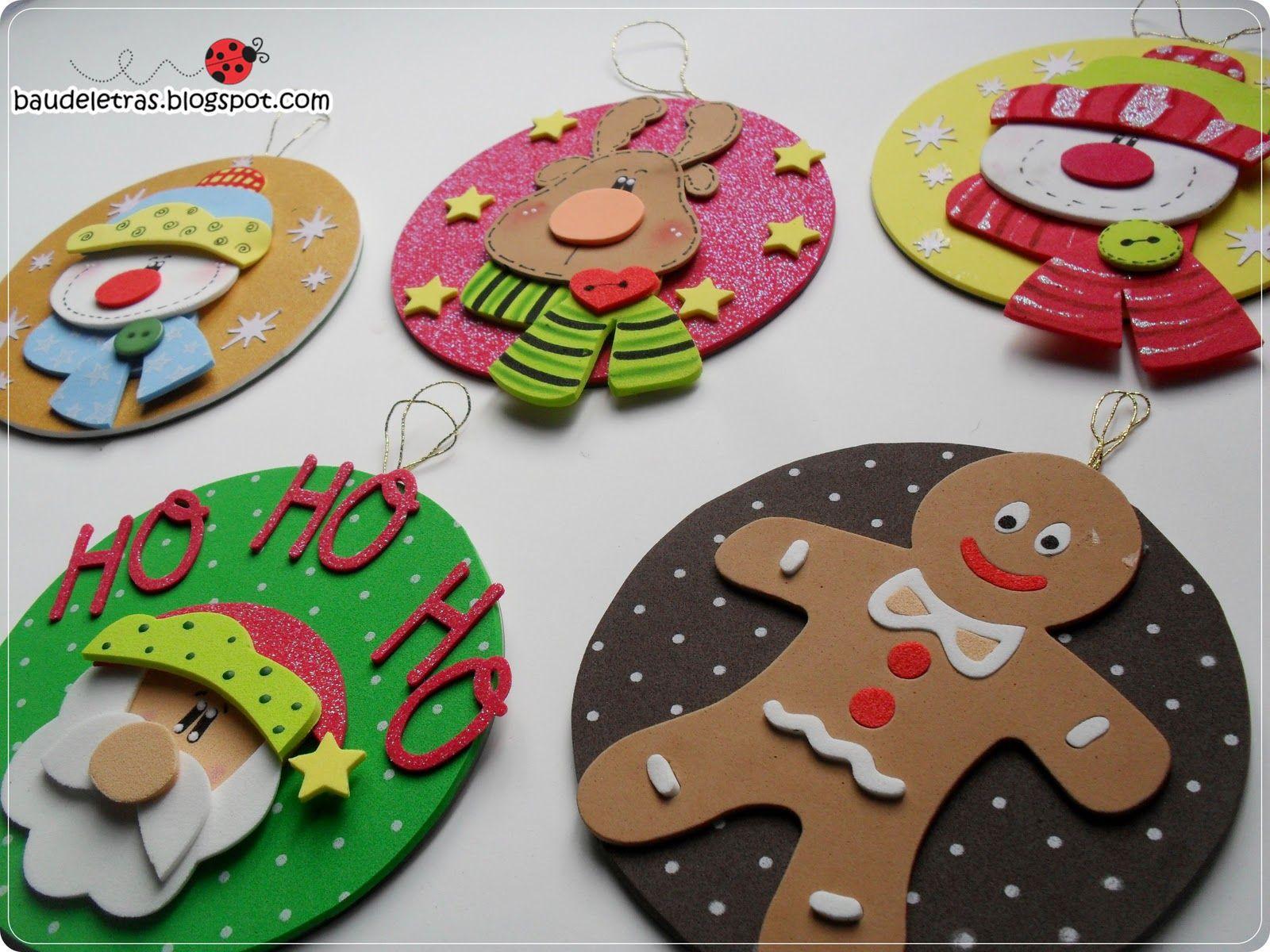 aqui tienes ms adornos navideos en gomae eva foamy para decorar el rbol o tu hogar