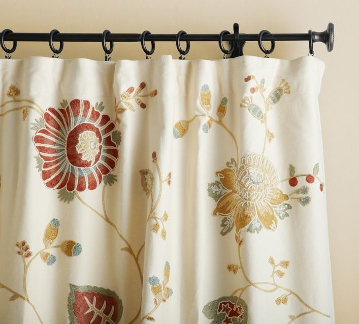 Pair Of Pottery Barn Margaritte Embroidered Drapes Two Drape