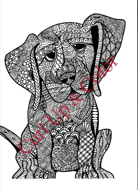 Adult Coloring Page Puppy Dog Instant Download By DailyDoodler