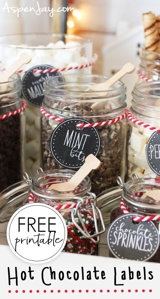 Hot Chocolate Bar Labels - free printable - Aspen Jay