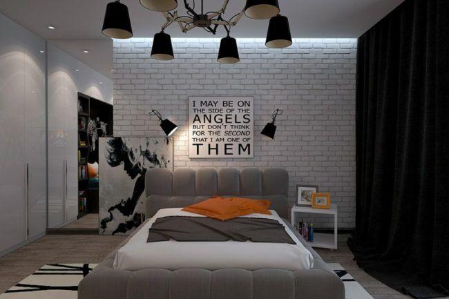 schwarz wei jugendzimmer, jugendzimmer moderne kronleuchter bachstein wand weiss vorhaenge, Design ideen