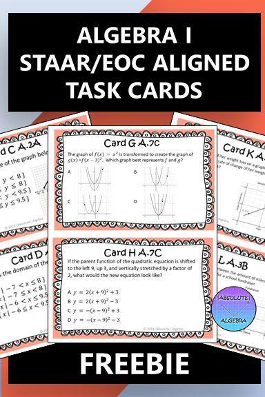 Algebra 1 staar eoc task cards free | Algebra, Algebra 1 ...