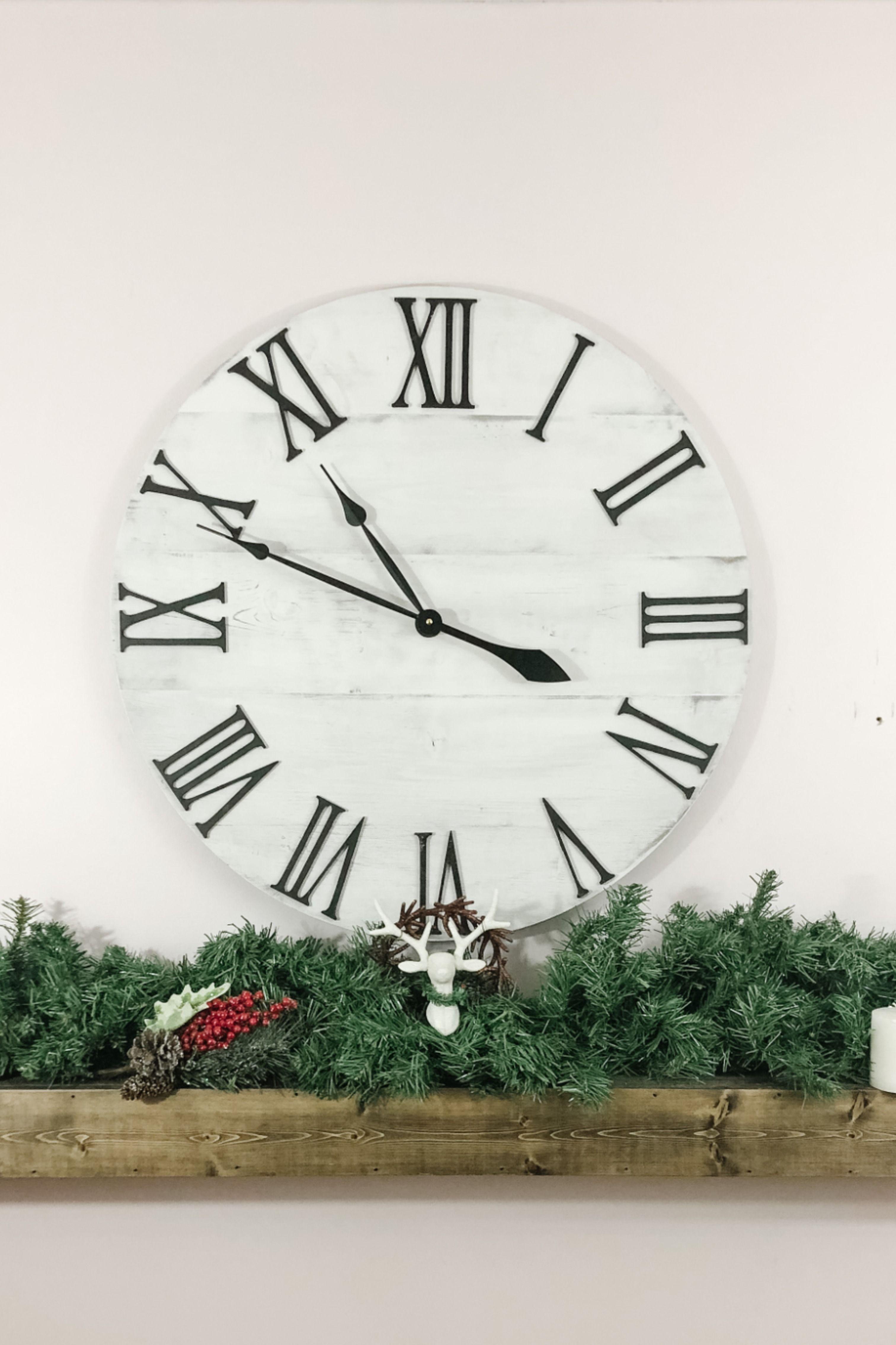 Large Wall Clock Rustic Clock Farmhouse Clock Oversized Clock 24 In 2020 Farmhouse Clocks Rustic Wall Clocks Rustic Clock
