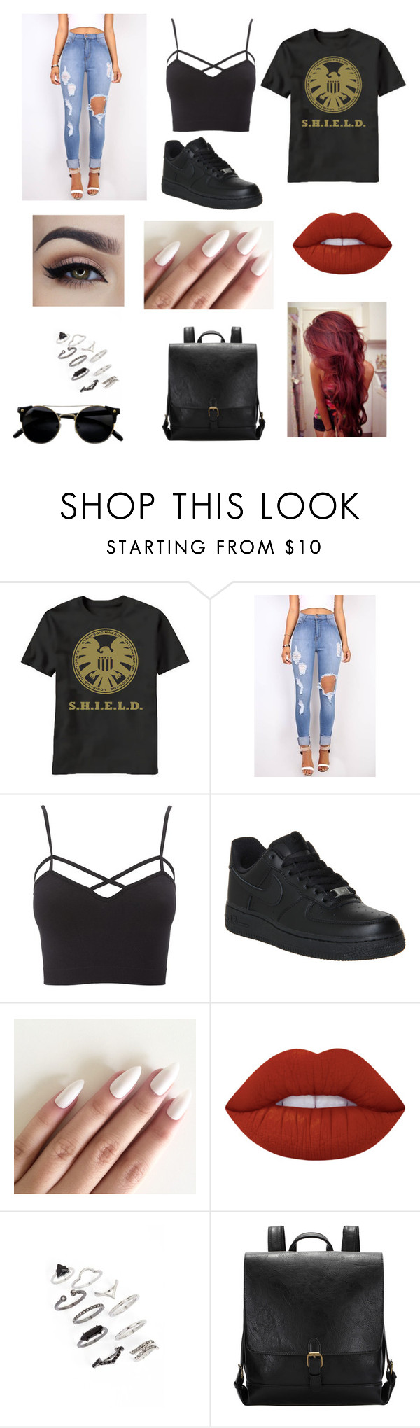 """""""Untitled #72"""" by aiyana-spn on Polyvore featuring Charlotte Russe, NIKE, Lime Crime and Topshop"""