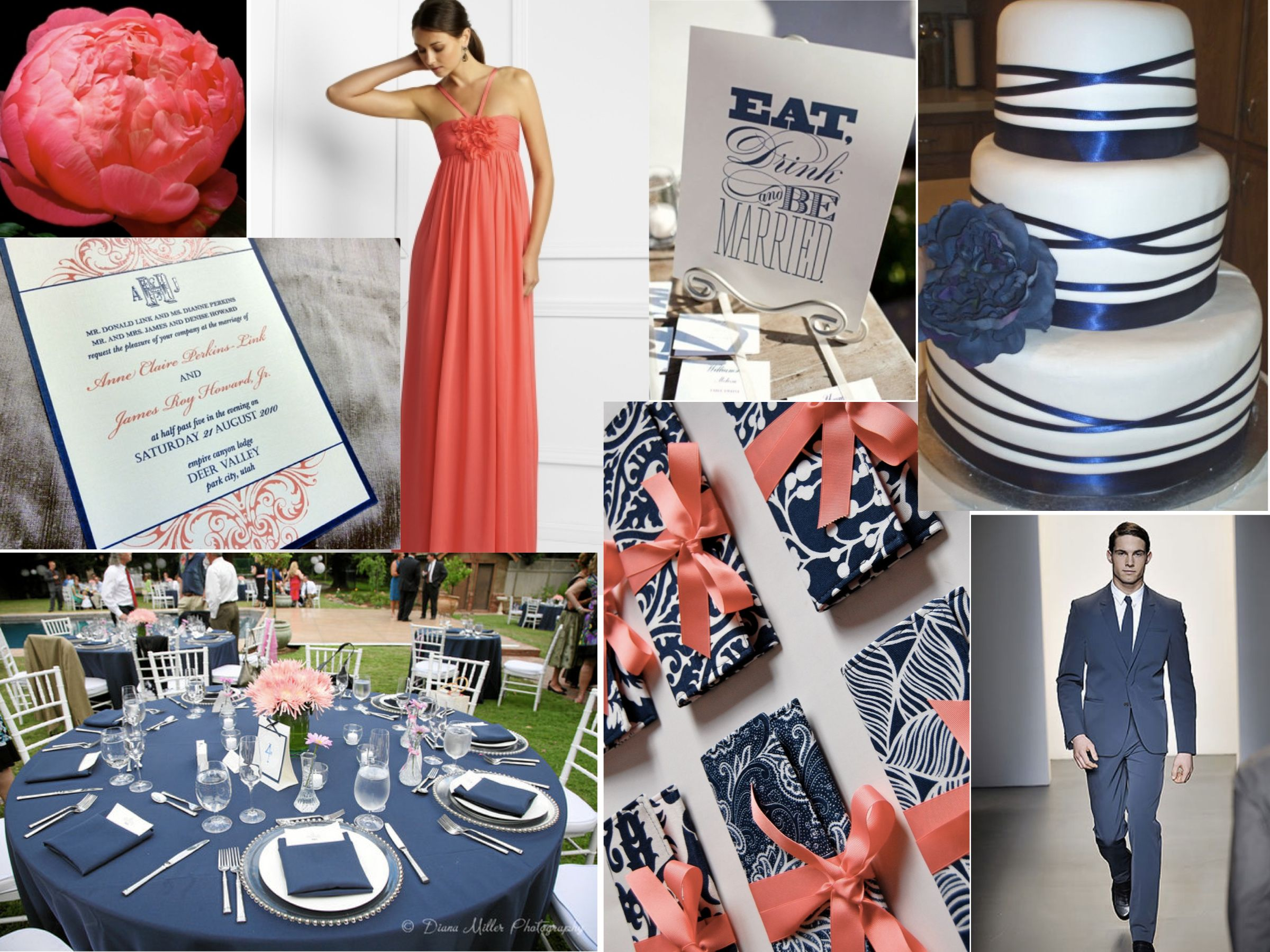 Image detail for -Coral + Navy Blue Wedding Inspiration | Nashville Wedding Planners ...