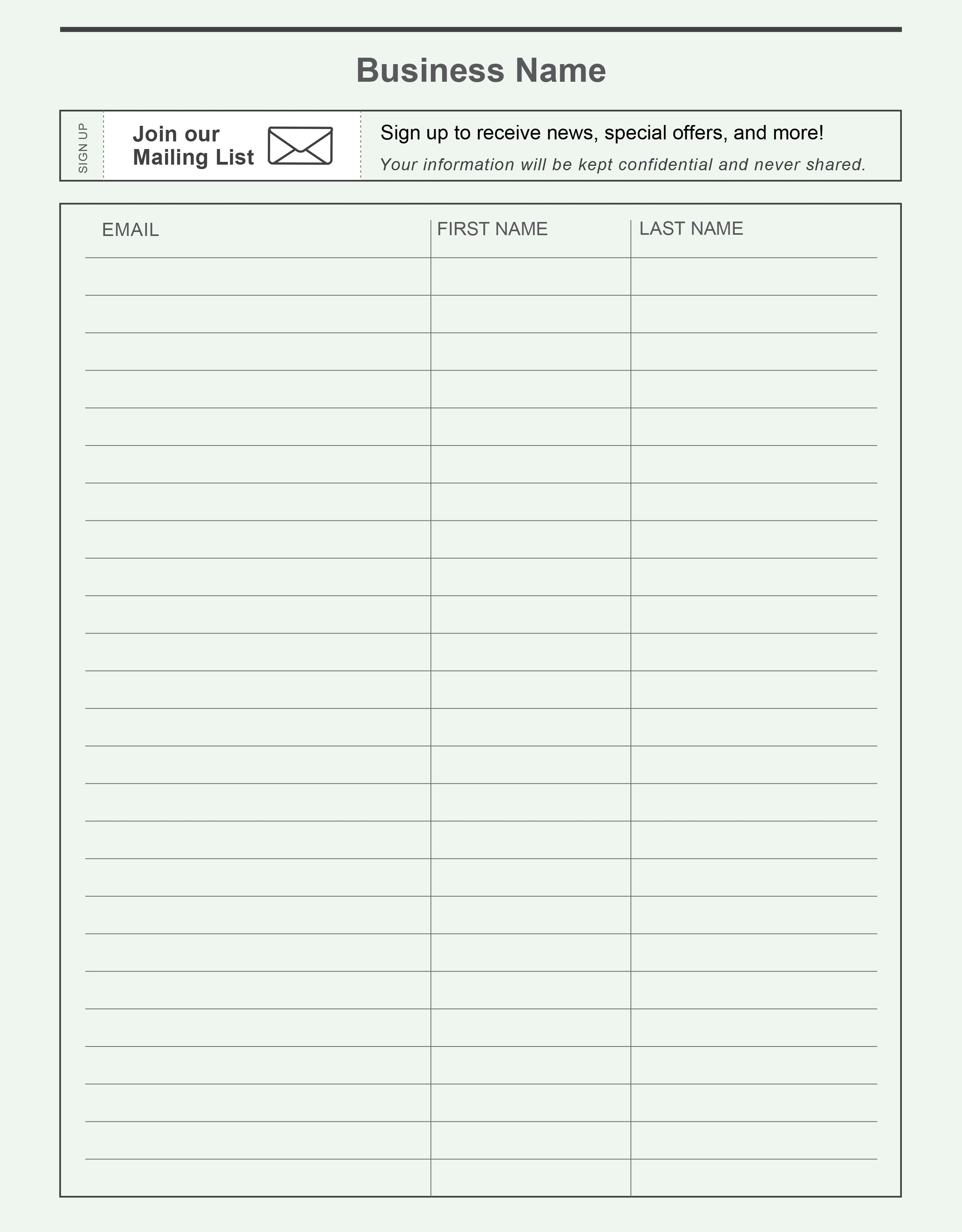 Free Printable Email Signup Sheet To Help You Grow Your