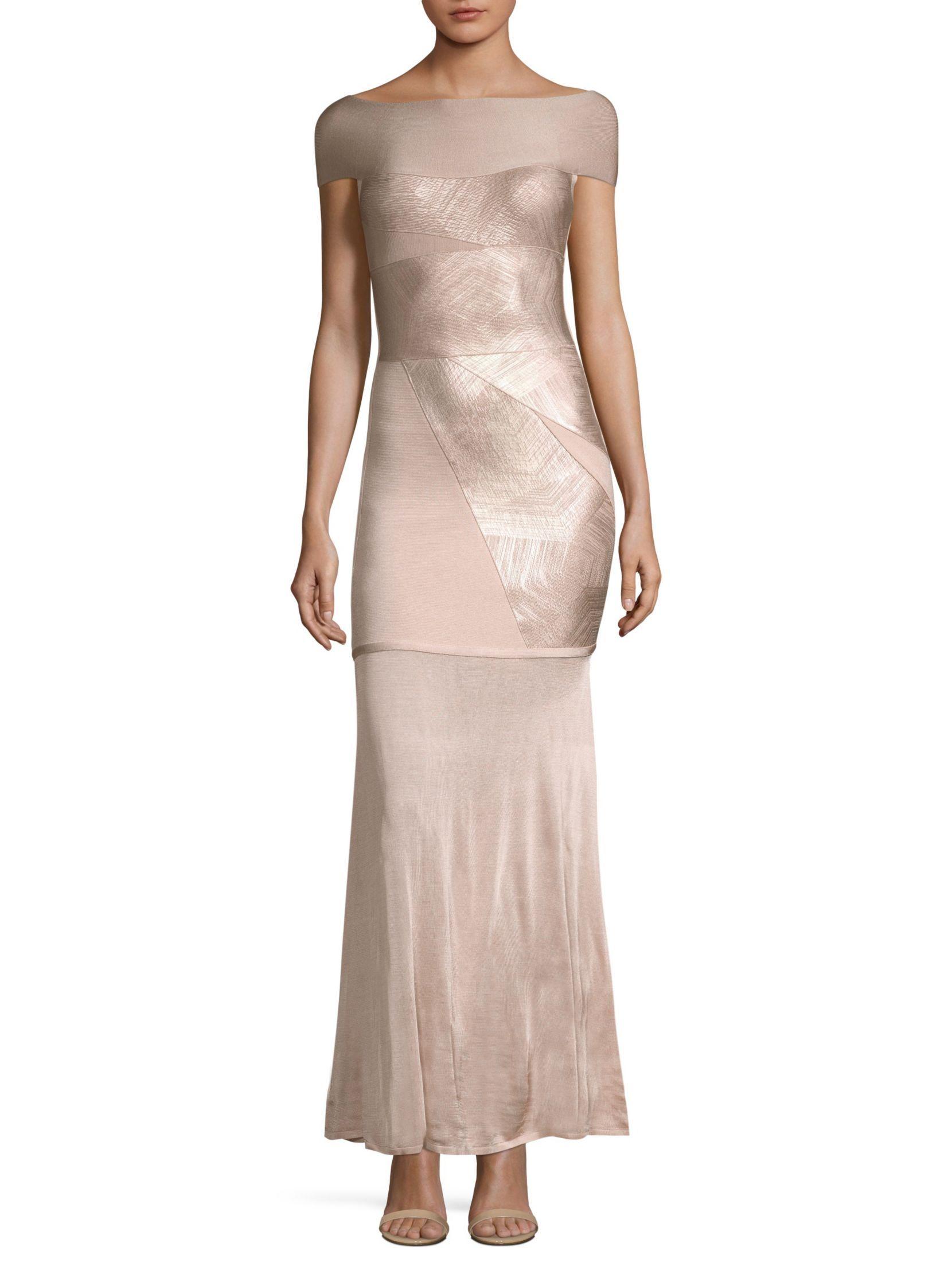 Herve Leger Off-The-Shoulder Foil Gown   Dresses   Pinterest   Herve ...