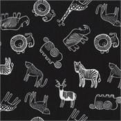 Wild Safari Creatures on Black by Wee Gallery for Dear Stella Fabrics WG297 Black