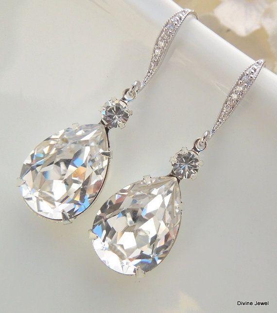 Crystal Swarovski Earrings Bridal Rhinestone Teardrop Statement Wedding ARIA