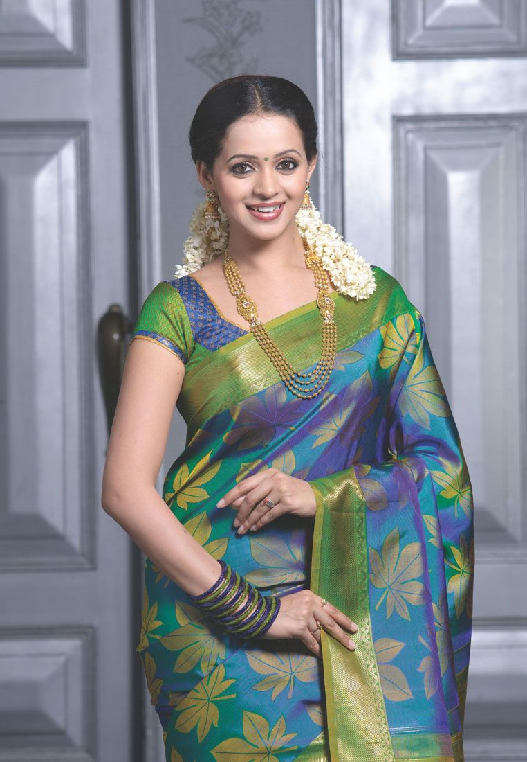 a2d61b5083 peacock blue green saree shree devi Blue Silk Saree, Indian Silk Sarees, Green  Saree