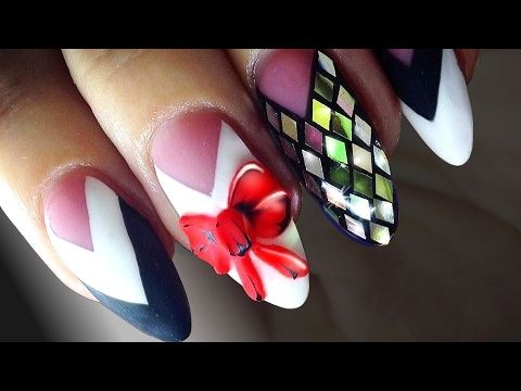 Dream Nails With Diamond Rhombus Very Vibrant Red Bows Exclusive