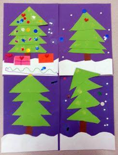 Adventures In Kindergarten Easy Peasy Tree Art Christmas Kindergarten Christmas School Kindergarten Art