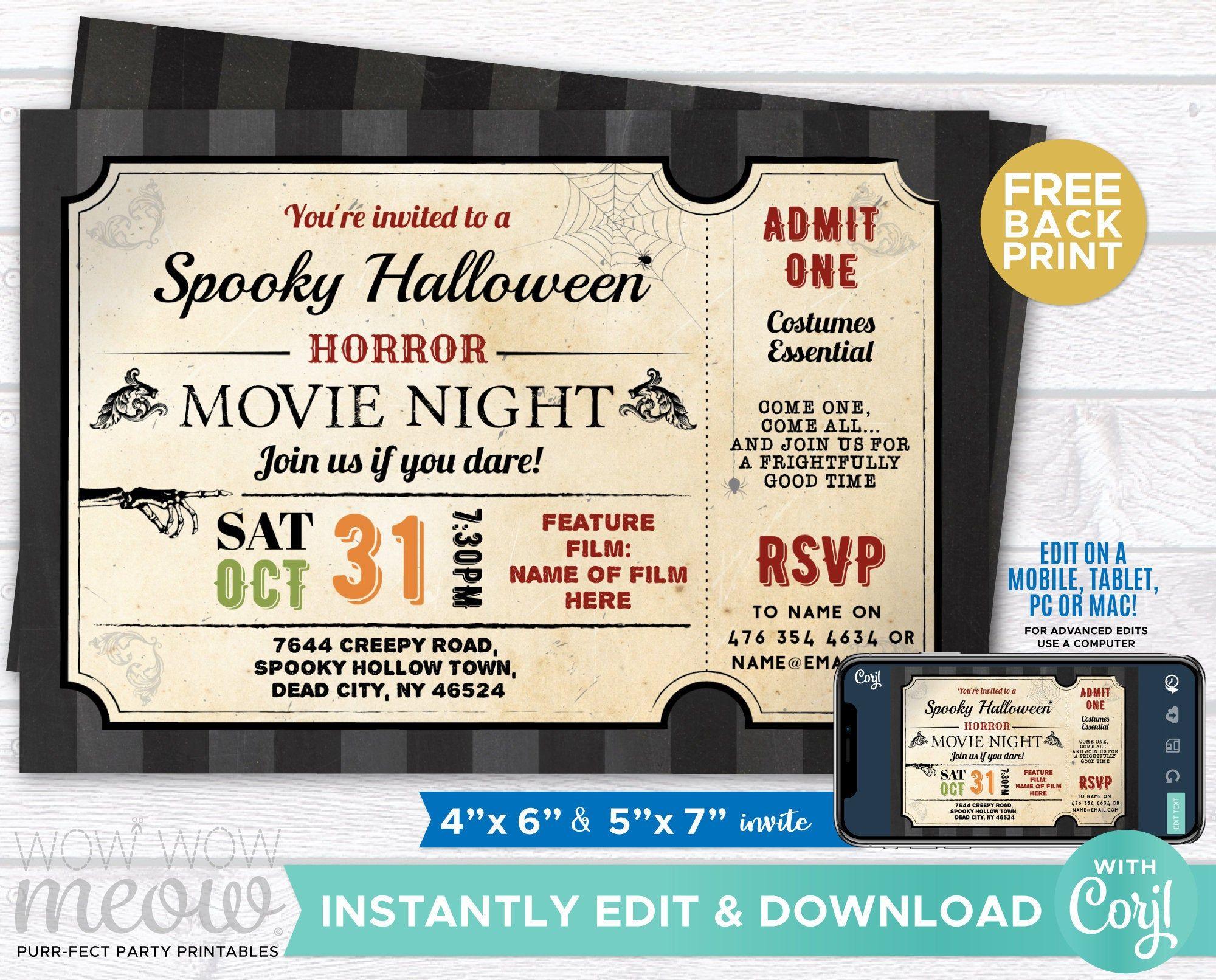 Halloween Invitations Ticket Horror Movie Night Film Party
