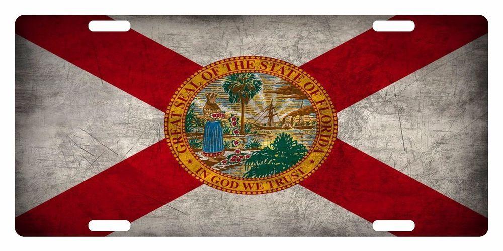 Florida State Flag Custom License Plate Sunshine State Emblem Metal Version 1 Ebay Map Of Florida Florida State Flag Florida Flag