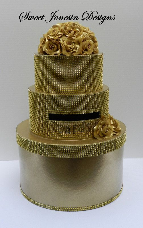 gold bling for wedding cakes gold wedding card box mesh ribbon bling cake box 14746
