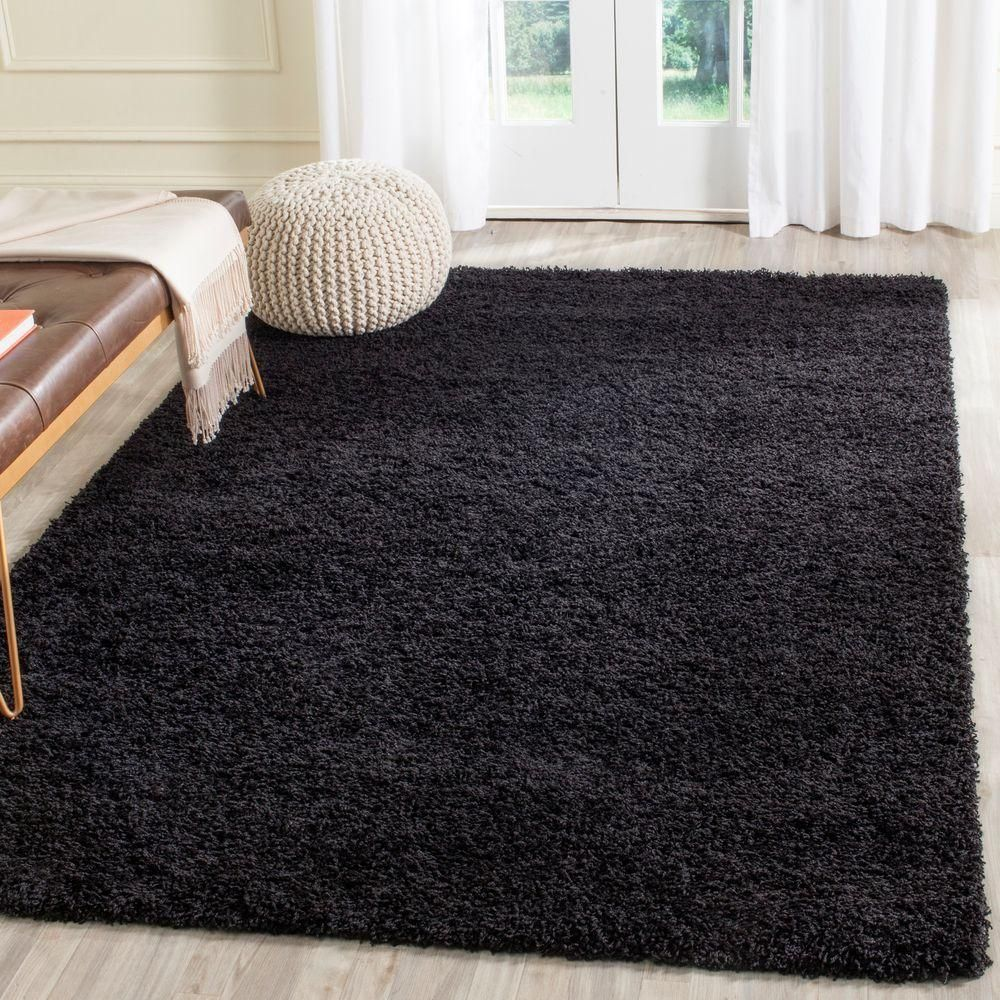 Laguna Shag Black 5 Ft 3 In X 7 Ft 6 In Area Rug Black Rug Black Rug Bedroom Rugs On Carpet