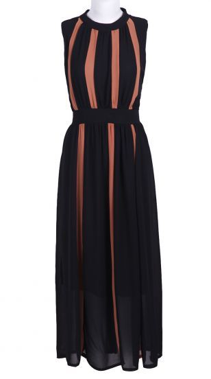 Black Sleeveless Bandeau Pleated Chiffon Dress
