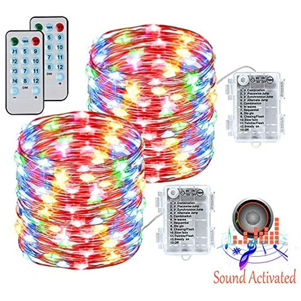 Lichterkette 100 LED Kupferdraht Lichterkette Sound Activated mit Fernbedienung