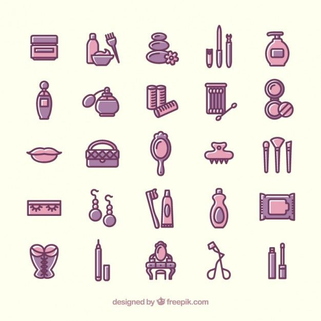 Variety of beauty icons Free Vector | icons | Pinterest