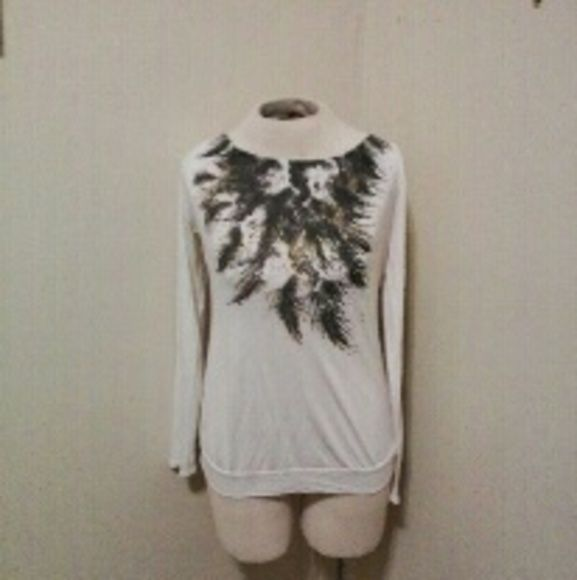 Miley Cyrus Max Azria feather top Miley Cyrus Max Azria size large long sleeve feather design top.  In excellent condition Tops
