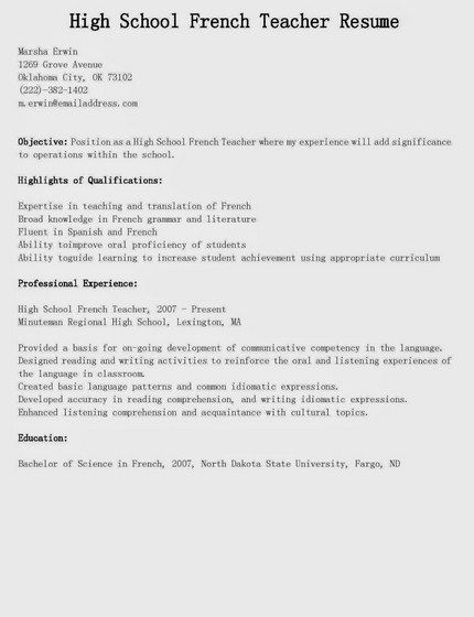 High School Teacher Resume  HttpGetresumetemplateInfo
