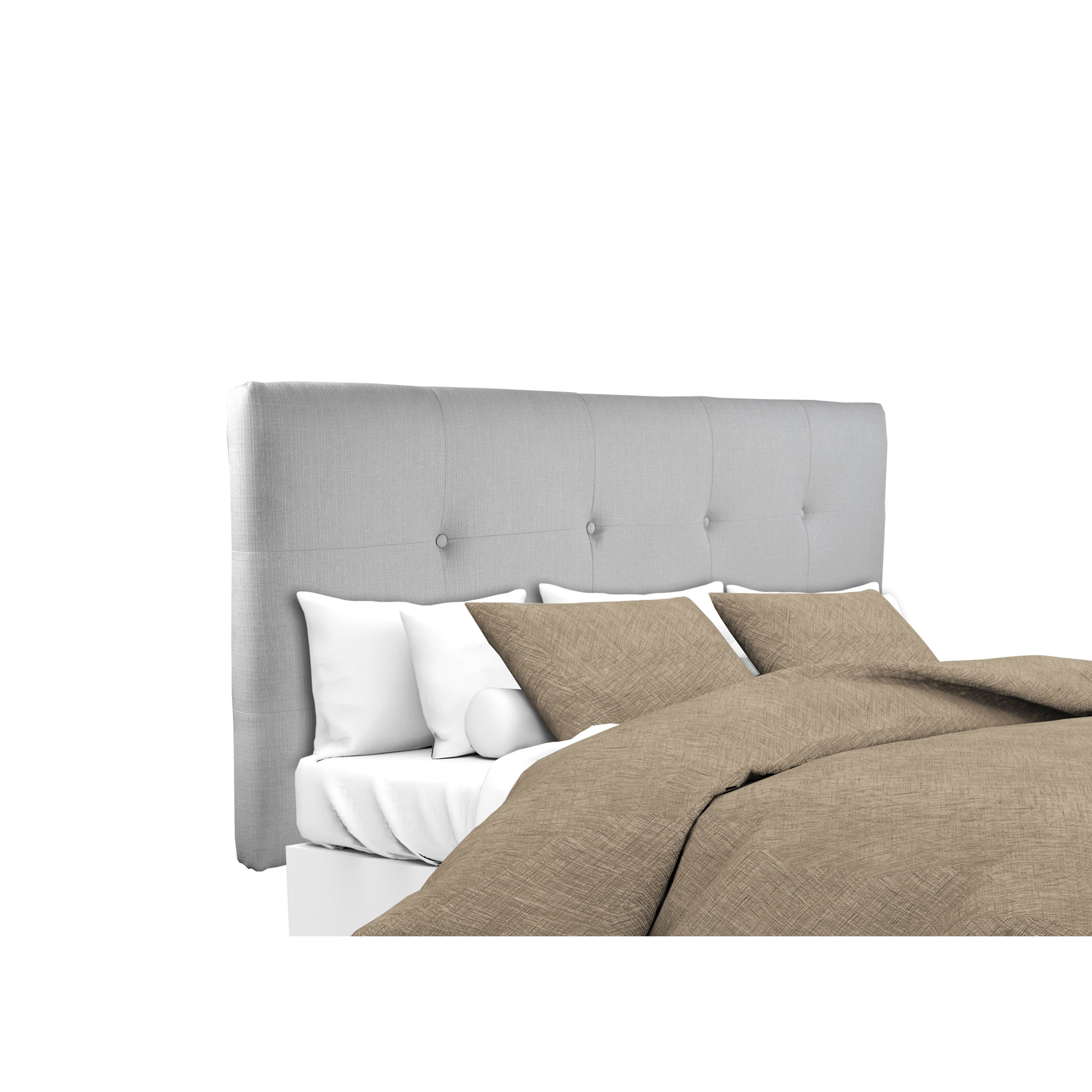 MJL Furniture Ali Button Tufted Silver Grey Upholstered Headboard ...