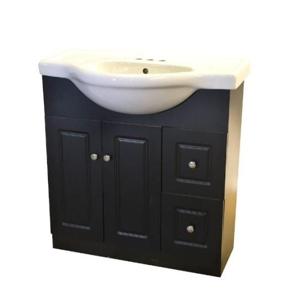 Dreamwerks 31 in. W x 12 in. D x 27 in. H Semi-Contemporary Vanity in Espresso with Ceramic Vanity Top in White-MWT103 - The Home Depot