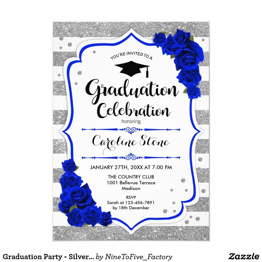 Graduation Party Silver White Royal Blue Invitation Graduation