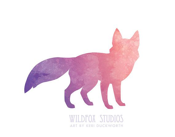 Watercolor Fox Silhouette || 8x10 Downloadable by WildfoxStudios