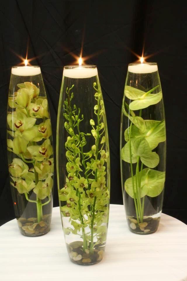 mesa-velas-flotantesjpg (640×960) decoracion Pinterest Velas - decorar jarrones altos