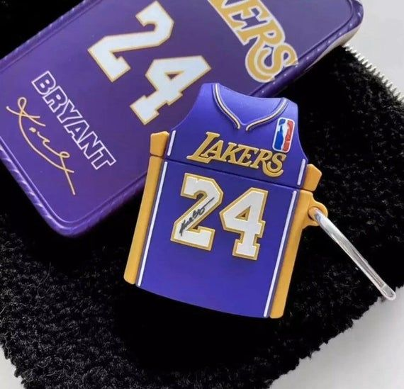 New Airpods 1 & 2 shockproof silicone case. Lakers Kobe Bryant #24 yellow, purple or white jersey.