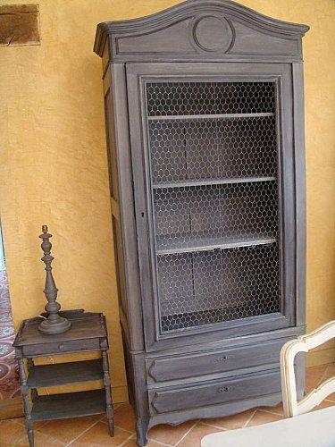 armoire grise rénovation meubles Pinterest Armoires grises - Repeindre Une Armoire En Pin