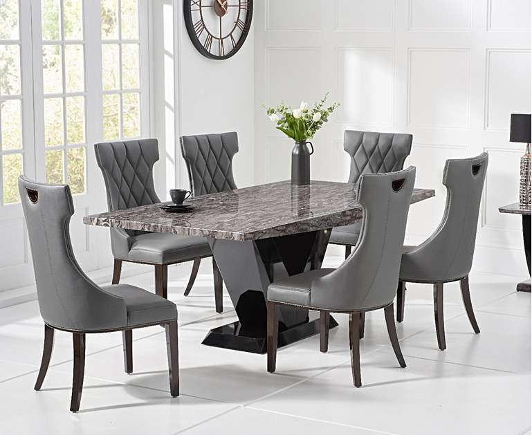 Verbier 200cm Grey V Pedestal Marble Dining Table With Freya