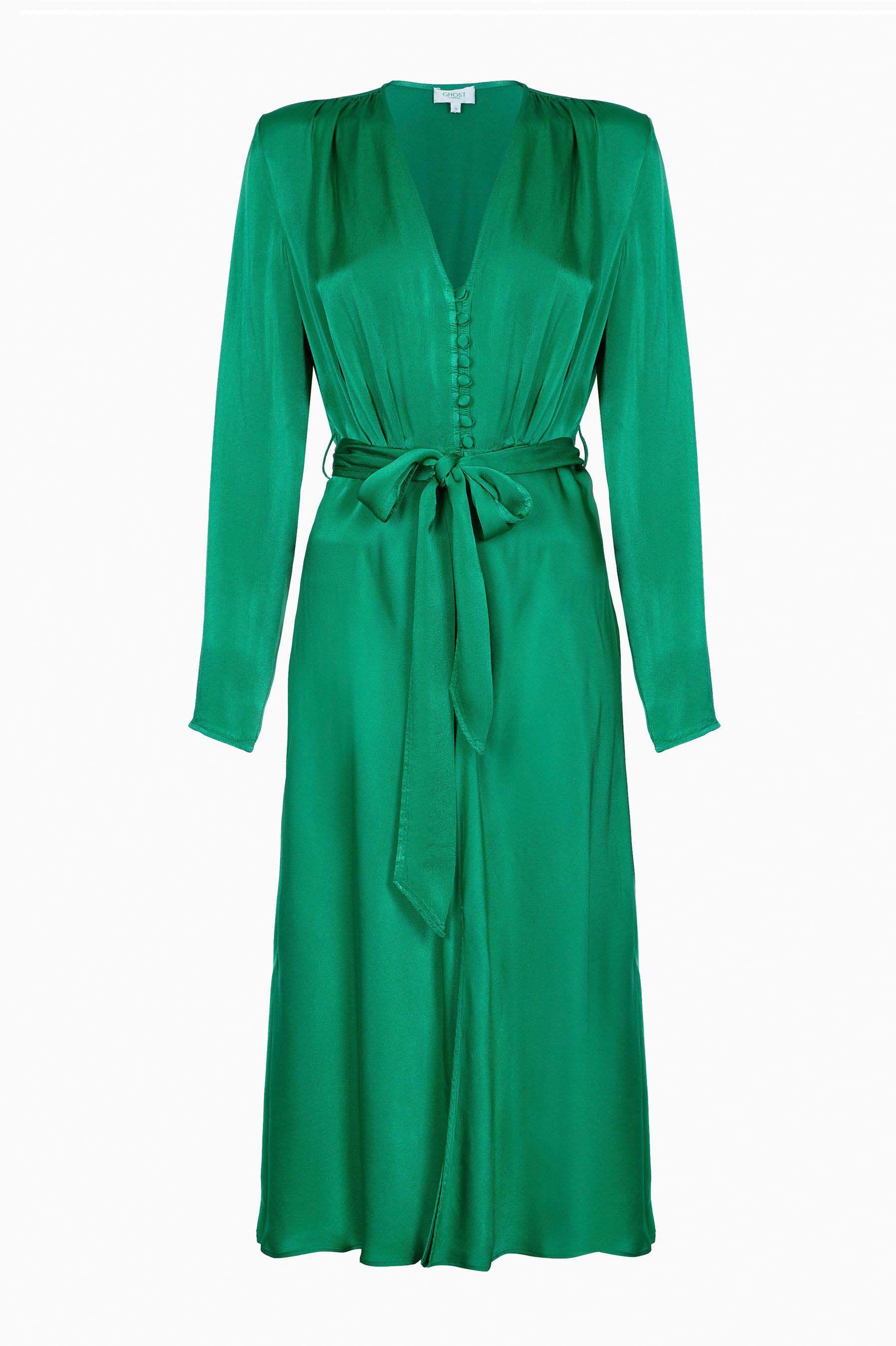 2230dcb4d8742 Womens Ghost London Green Meryl Button Through Satin Dress - Green ...