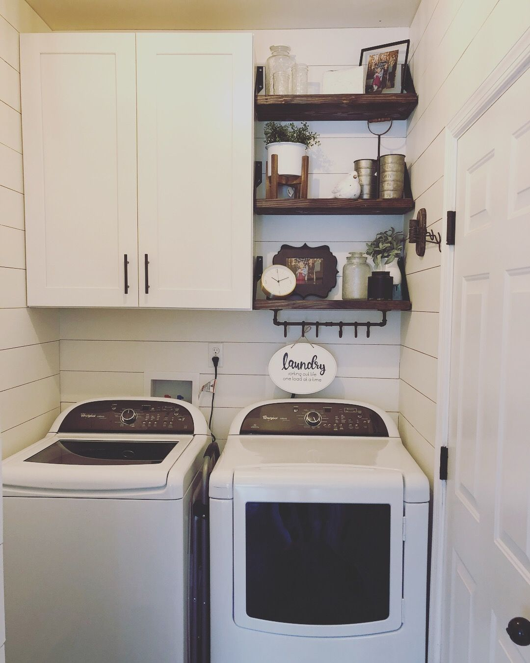 Laundry room, shiplap, diy, alabaster, makeover, open shelves