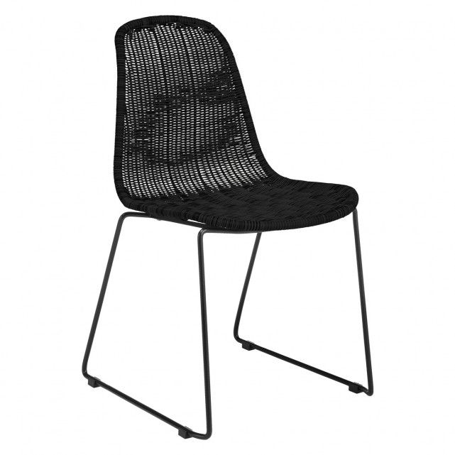 Cheap Black Dining Chairs: MICKEY Black Synthetic Rattan Dining Chair