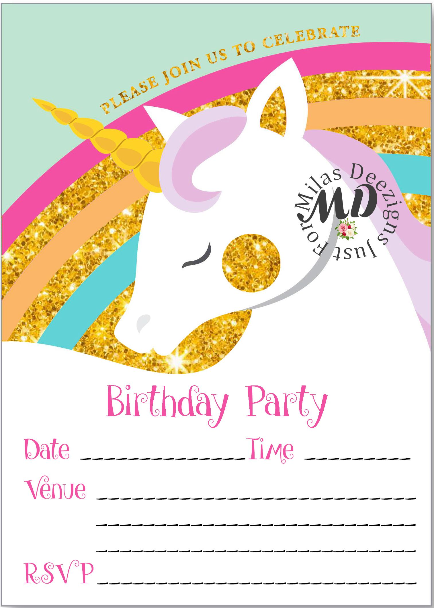 Fill in Unicorn printable birthday invitation #MilasDeezigns ...