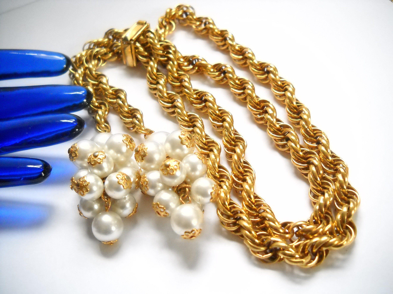 Mid Century Lariat Chain Long Statement Necklace Unique Retro Lariat Necklace