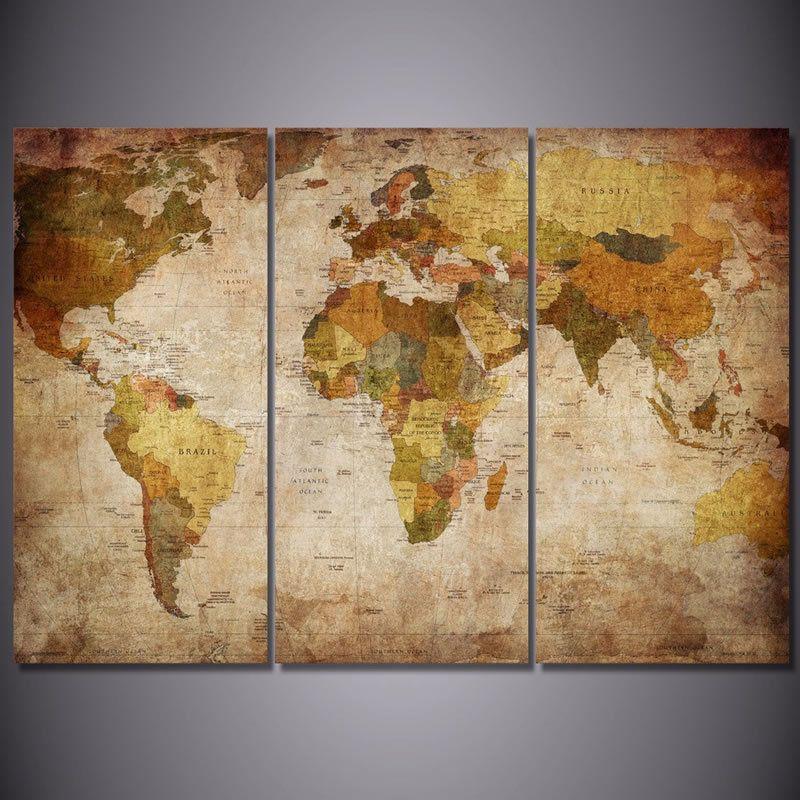 3 pcsnvas vintage antique world map art framed canvas wall decor 3 pcs canvas vintage antique world map art framed canvas wall decor printal206 unbranded abstract gumiabroncs Images