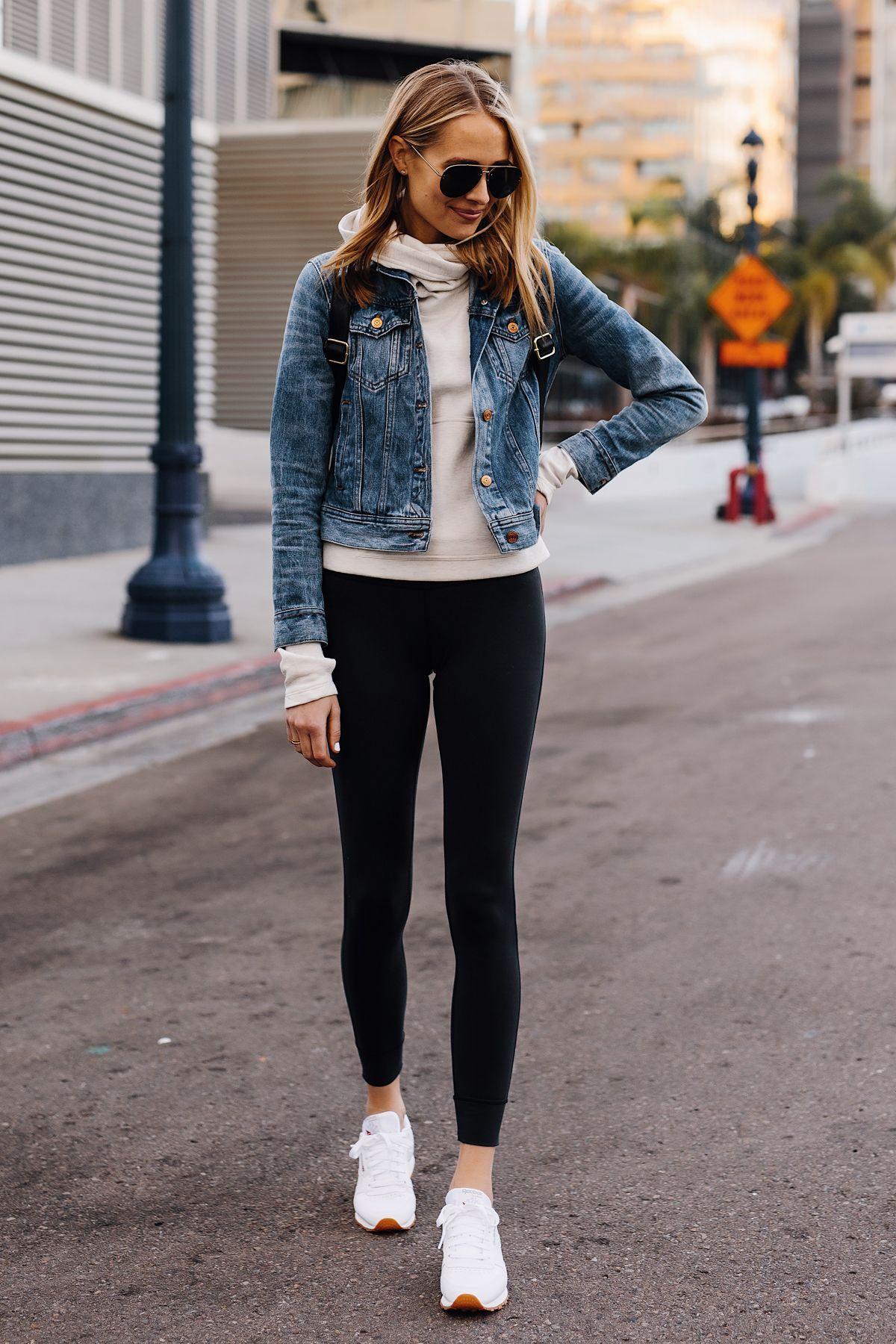 Fashion Jackson Athleisure Outfit Denim Jacket Grey Sweatshirt Black Leggings Reebok Classic Whi Black Leggings Outfit Athleisure Outfits Outfits With Leggings