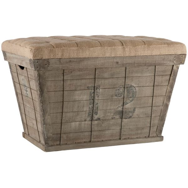 Rustic Wood Storage Crate Ottoman 745 Liked On Polyvore Featuring Home Furniture