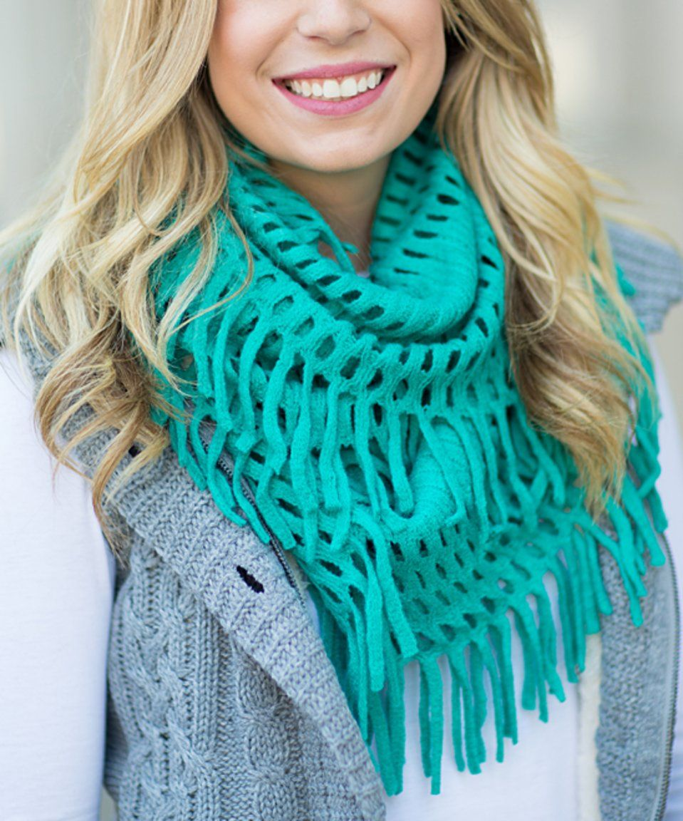 Take a look at this Turquoise Cutout Fringe Infinity Scarf