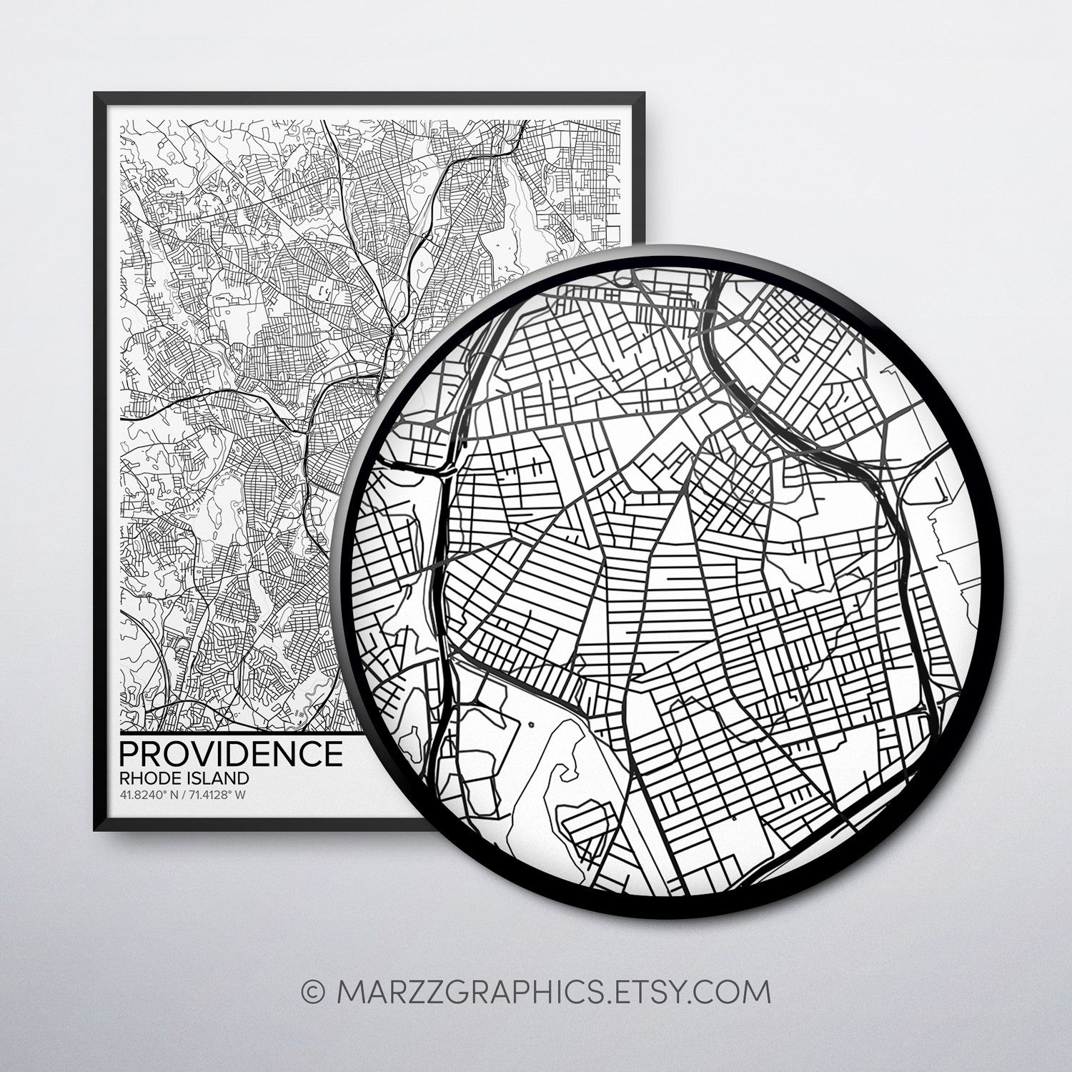 Providence Map Poster Print Wall Art Rhode Island T