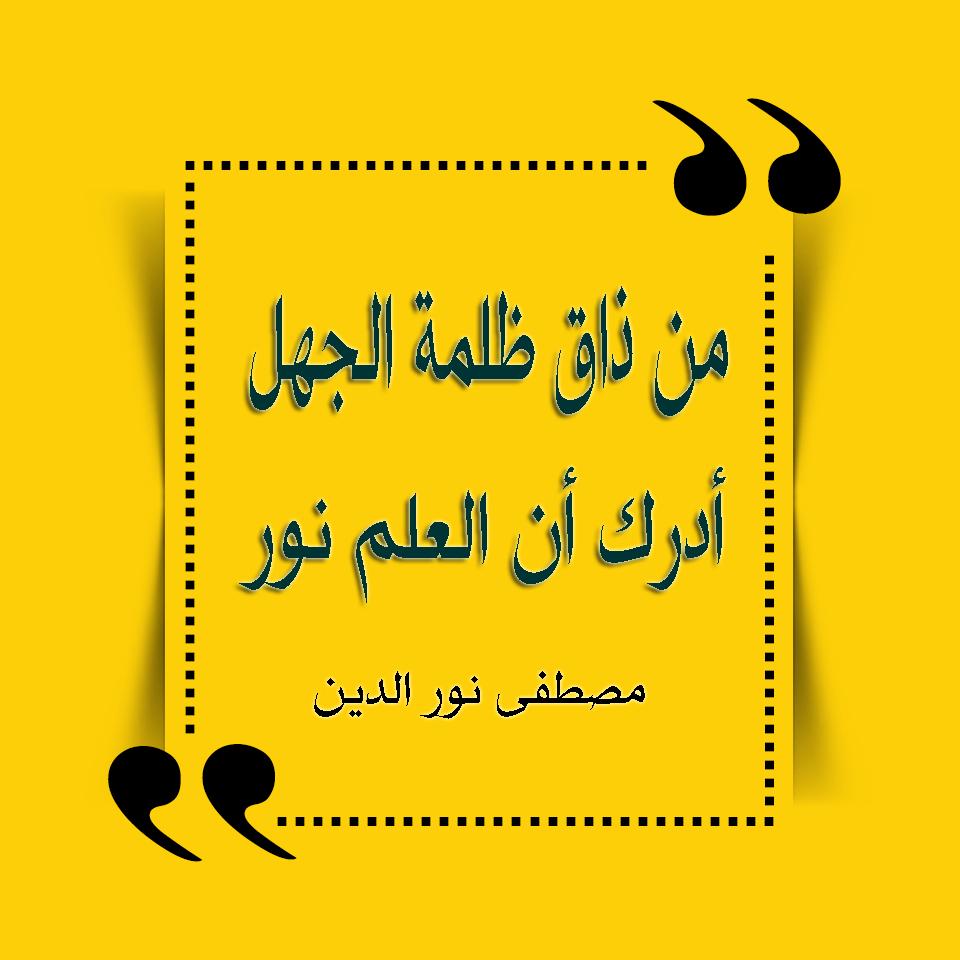 اجمل الحكم العربية من ذاق ظلمة الجهل أدرك أن العلم نور مصطفى نور الدين Quotes Mindfulness Calligraphy